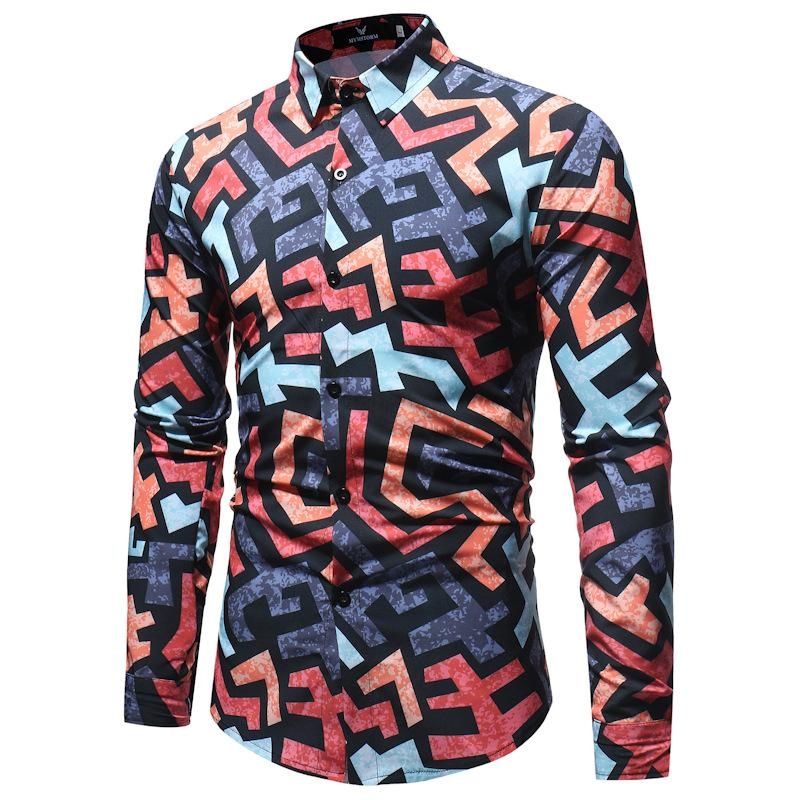 c738fec001 2019 Geometric Striped Shirt Men Chemise Homme 2018 Autumn New Long Sleeve  Dress Shirt Mens Causal Button Down Shirts Camisa Hombre From  Shoppingparty, ...