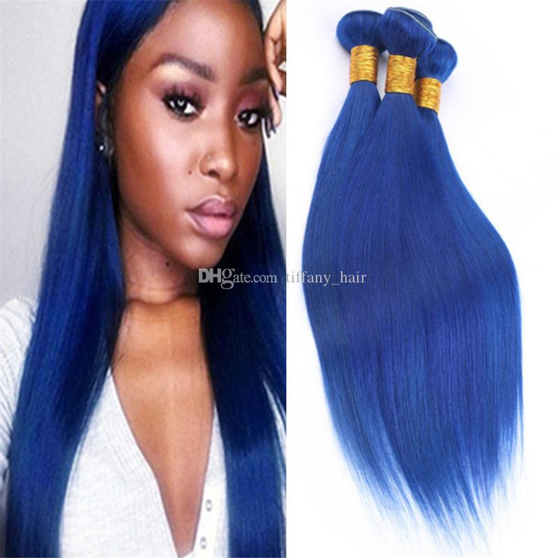 Cheap Dark Blue Virgin Peruvian Human Hair Weave 3 Bundles Deals