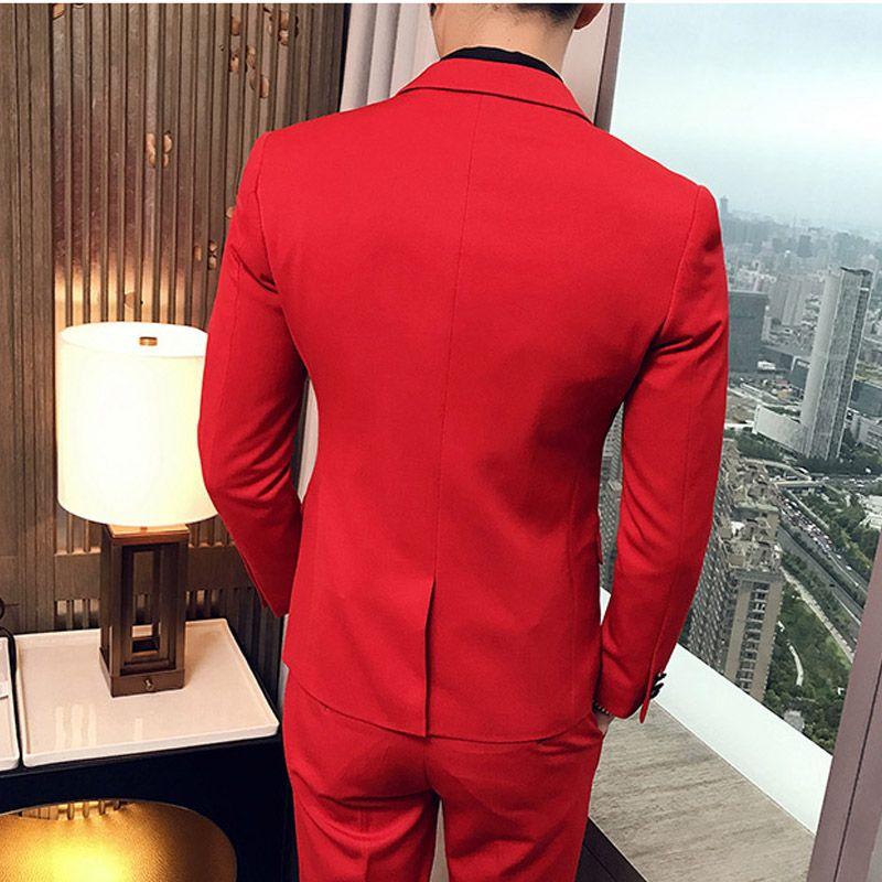 Akşam Prom Üç parçalı Kırmızı Düğün Erkekler Suits Yaka Slim Fit Custom Made Groomsmen Smokin Peaked Ceket + Pantolon + Yelek