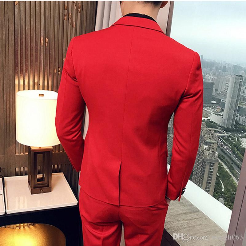 Três Peças Vermelho Festa À Noite Dos Homens Ternos 2018 Pico Lapela Guarnição Fit Custom Made Casamento Smoking Jacket + Pants + Vest