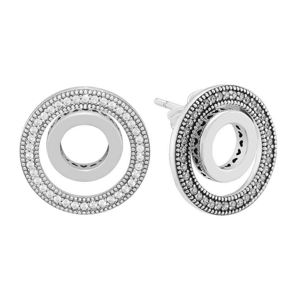 6c95e0d3c4d03 CKK 925 Sterling Silver Forever Signature Stud Earrings For Women Original  Jewelry Making Anniversary Gift S18101206