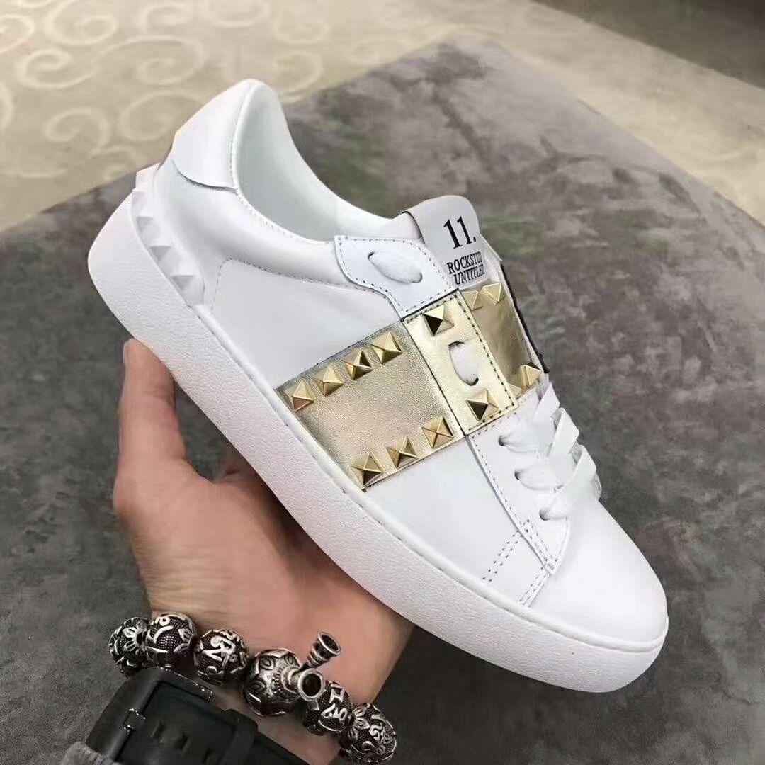 7a6eff87f Luxury Men Women V Brand Punk Rivets Flat Couple Shoes Genuine ...