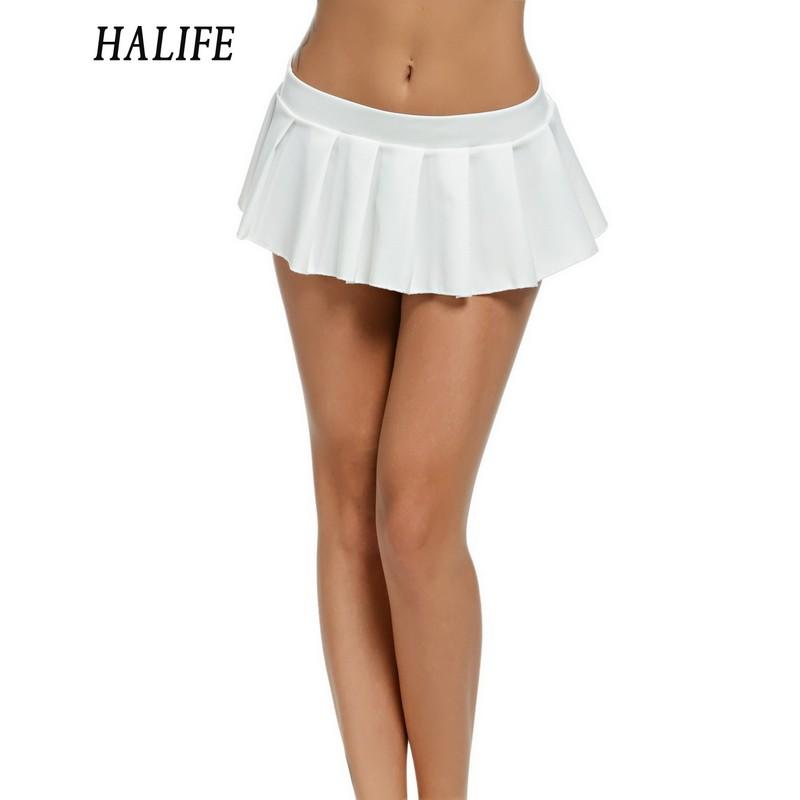 7b7bae0c9c Wholesale-HALIFE Women Micro Skirt Sexy Low Waist black white green Short  Mini Skirt Sleepwear Nightwear Cosplay Faldas Pleated Skirts 615