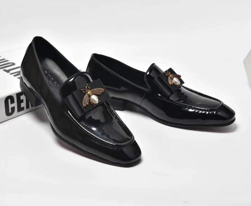 c35b72f0bec Handmade Genuine Leather With Diamond Bow Tie Men Wedding Black Dress Shoes  Men s Banquet Loafers Big Size