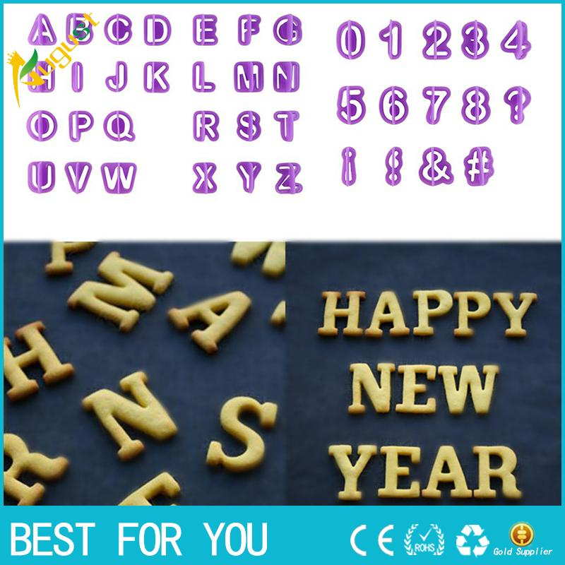 New hot 40pcs/set Alphabet Number Letter Plastic Fondant Cake Decorating Cookie Cutter Biscuit Mold