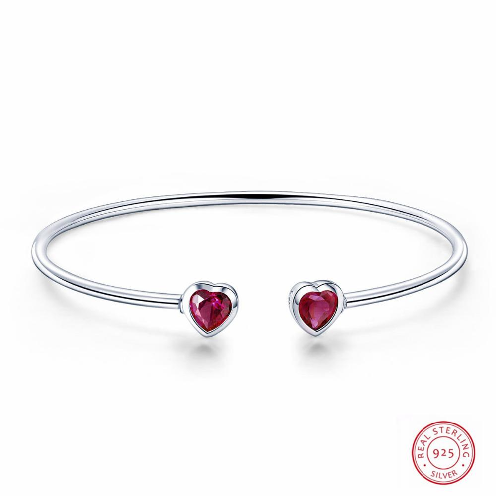 aa7681d91d 100% Genuine 925 Sterling Silver Charming Jewelry Heart To Heart Bracelet  Bangles Women Fashion Accessories Bangle Pour Femme White Gold Diamond  Bangle Buy ...