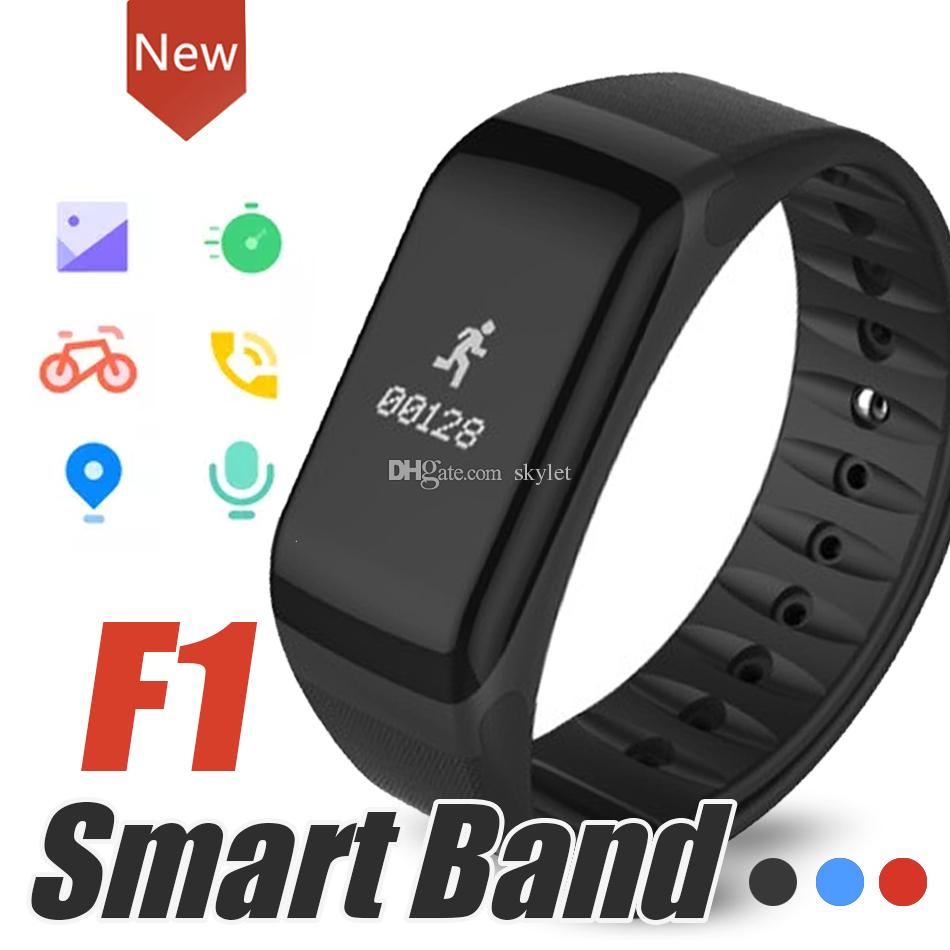 F1 Smart Bracelet Fitness Wristband With Heart Rate Monitor Blood Pressure Function Wireless Sport Tracker for IOS Android Cellphones in Box
