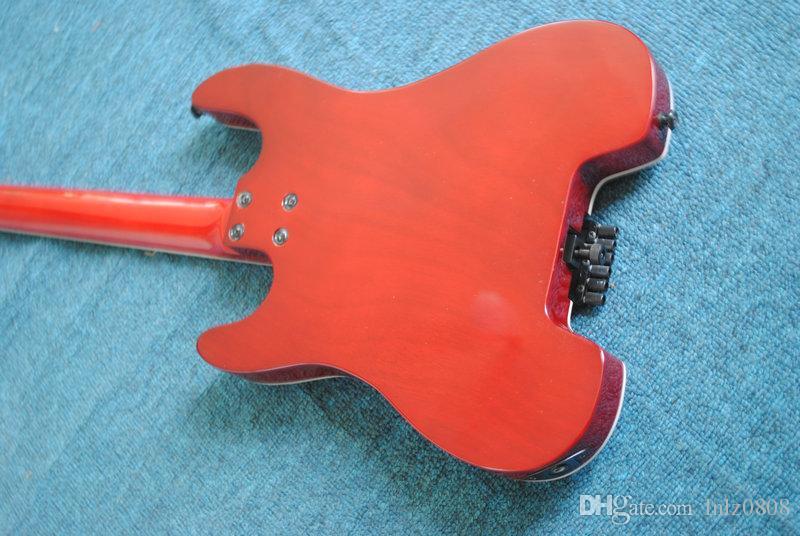 Ücretsiz Kargo kırmızı 4 dizeleri YOK Kafa Elektrik Bas başsız Toptan gitar