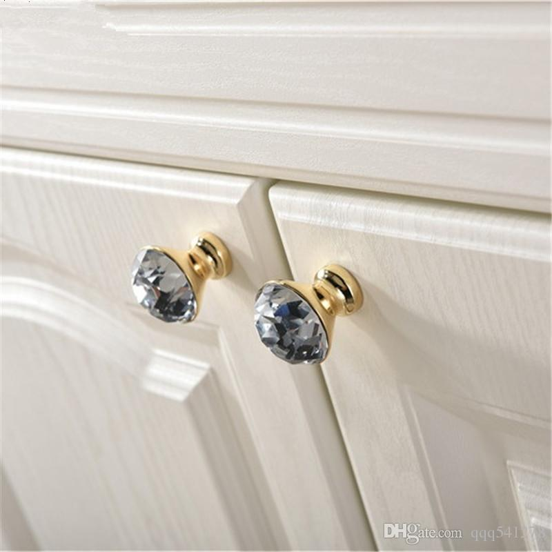 Luxury Gold Czech Crystal Round Cabinet Door Knobs and Handles Furnitures Cupboard Wardrobe Drawer Pull Handle