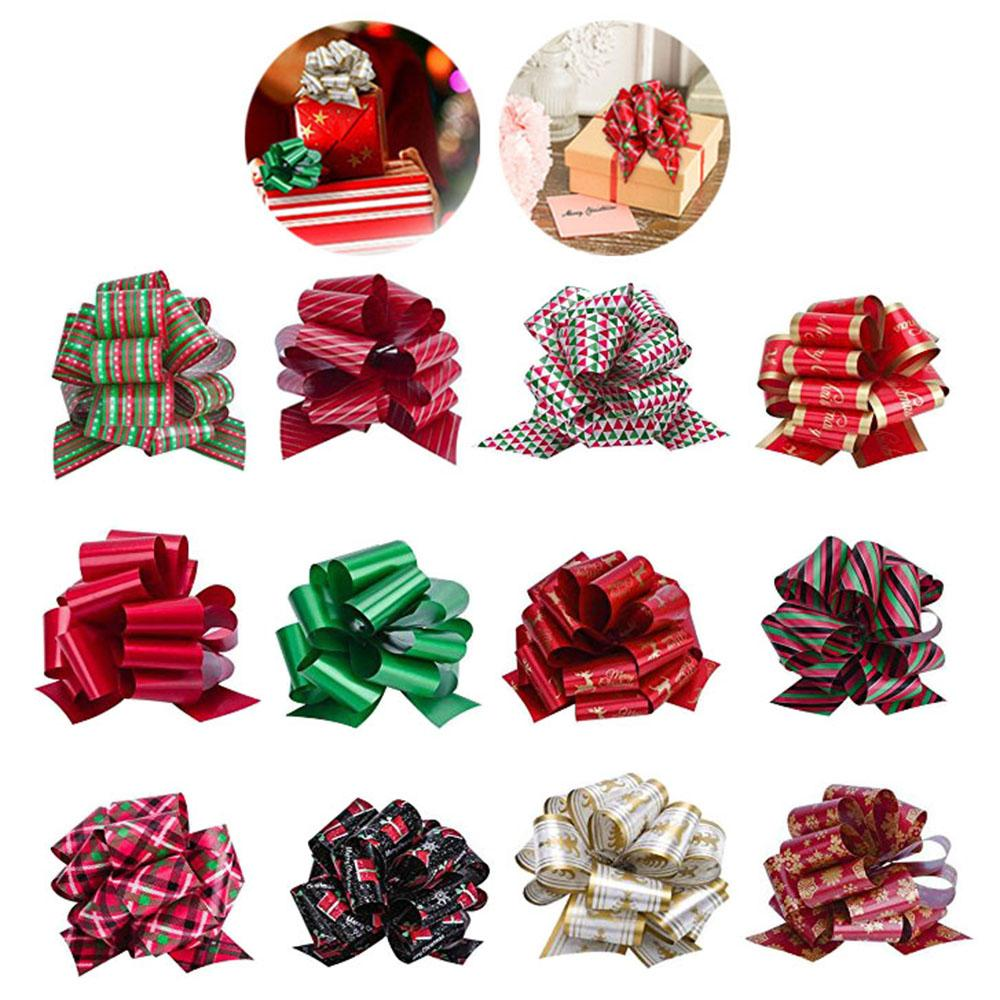 12 pcs/lot Gift Packing Pull Bow Ribbons for Christmas Gift Packing Wedding Party Decoration