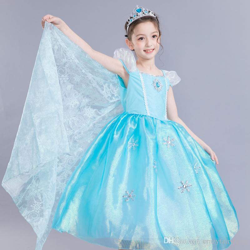 2018 Princess Short Sleeve Party Evening Costume Children Cosplay ...