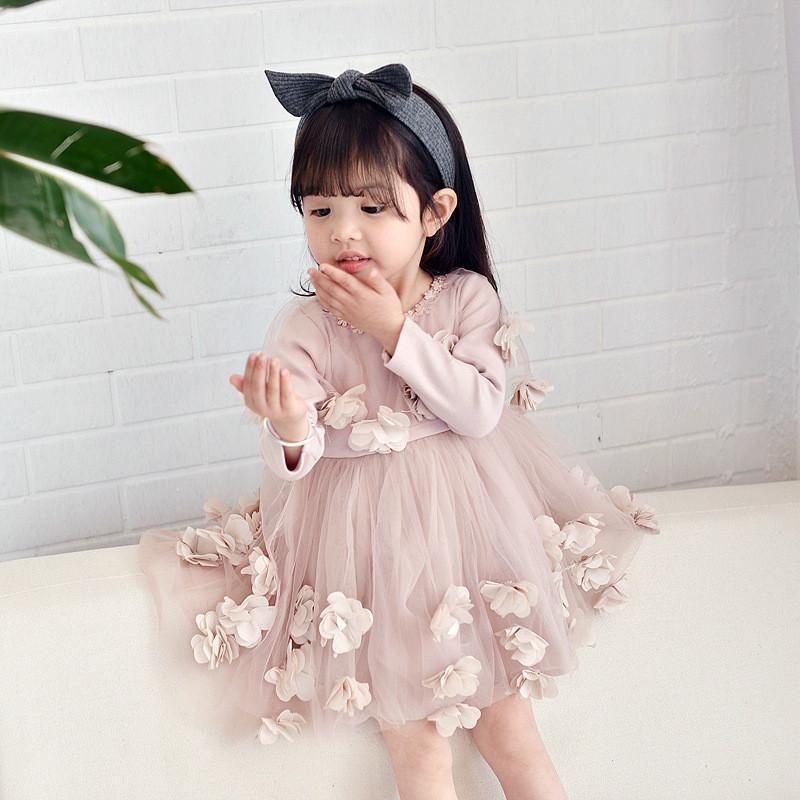 f105f2e483 Acquista Vestito Da Principessa Delle Ragazze Vestito Da Tuta A Manica  Lunga Di Disegno Del Fiore 3D Vestito Bambini Moda Vestito Da Festa Bambini  Ragazze A ...