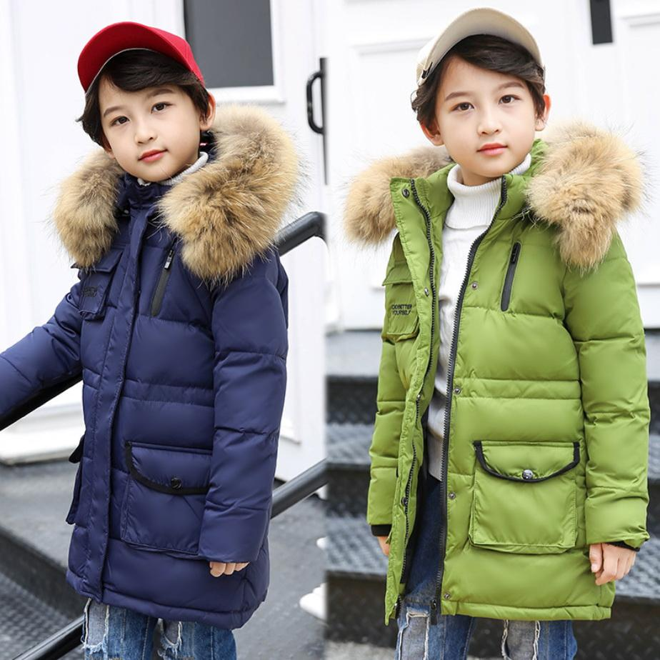 b67992752 Winter Jackets Boys Snowsuit Teenage Boy Coats Warm White Duck Down ...