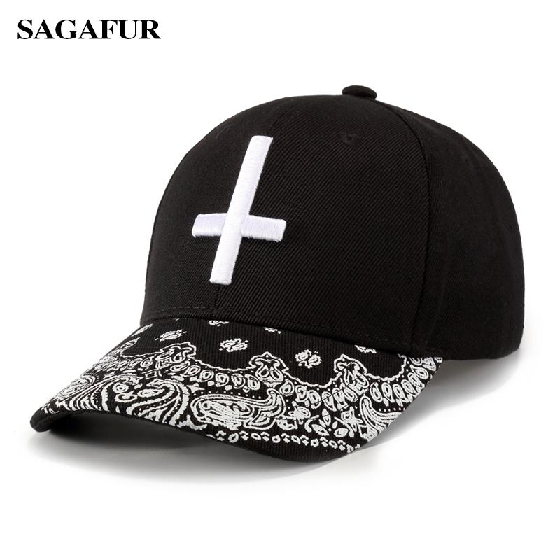 25752ae3451 SAGAFUR Unisex Caps For Girls Embroidery White Cross Fitted Hat Casual  Spring Summer Classic Design Sport Baseball Hat Women s Hatland Brixton Hats  From ...