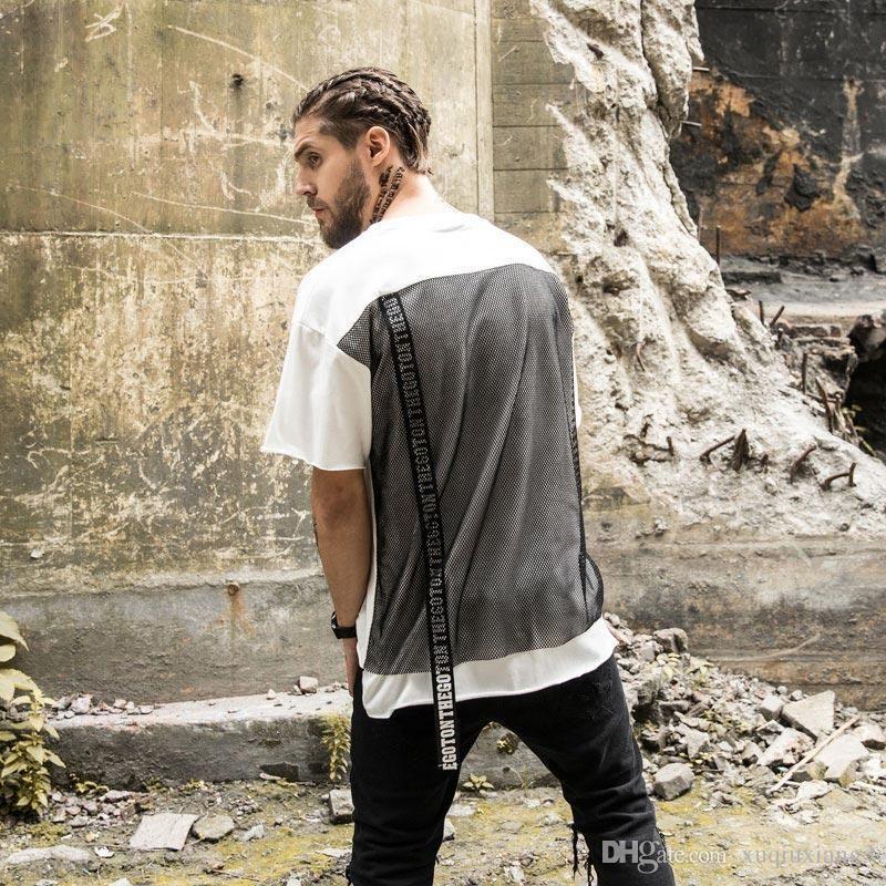 4b37d67cb7cf 2017 New Fashion Men Fashion Kanye West Clothing Punk Extended T Shirt Man  Casual Hip Hop Mesh Rock Tee Shirts Swag Tshirt Homme Online Tee Shirts  Shopping ...