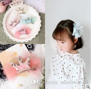 Girls sequins crown hair clip boutique kids lace gauze pearl rhinestones crown princess hairpins children's day party barrettes YA0152