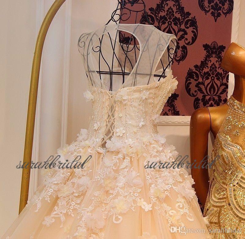 2019 nuevo jardín amarillo Vestidos de novia de encaje Vestidos de novia flores Tulle Amor con cordones Atrás A medida vestido de bola largo tren Blush Pink