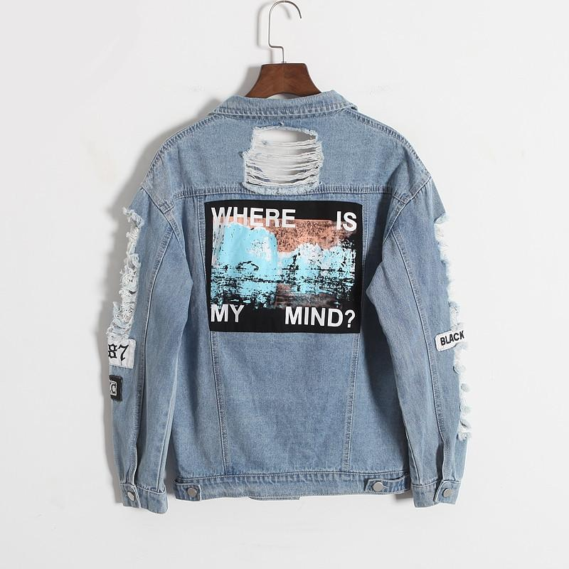 59d58eeb7 2018 Harajuku autumn winter Korea retro washing frayed embroidery letter  patch jeans bomber jacket Light Blue Ripped Denim Coat L18100904