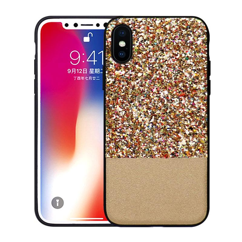 Luxury Bling Glitter Shining Rough PC Hard Case Flash Powder Capa Back Phone Cover for iPhone X 6 6S 7 8 Plus iphone8 ip8