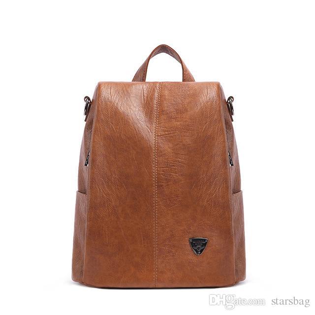8b4775fa1723 Genuine Leather Backpacks Women Korean Style Fashion Rucksacks School  Backpack For Girls Mochila Brand Designer Bags Q-140