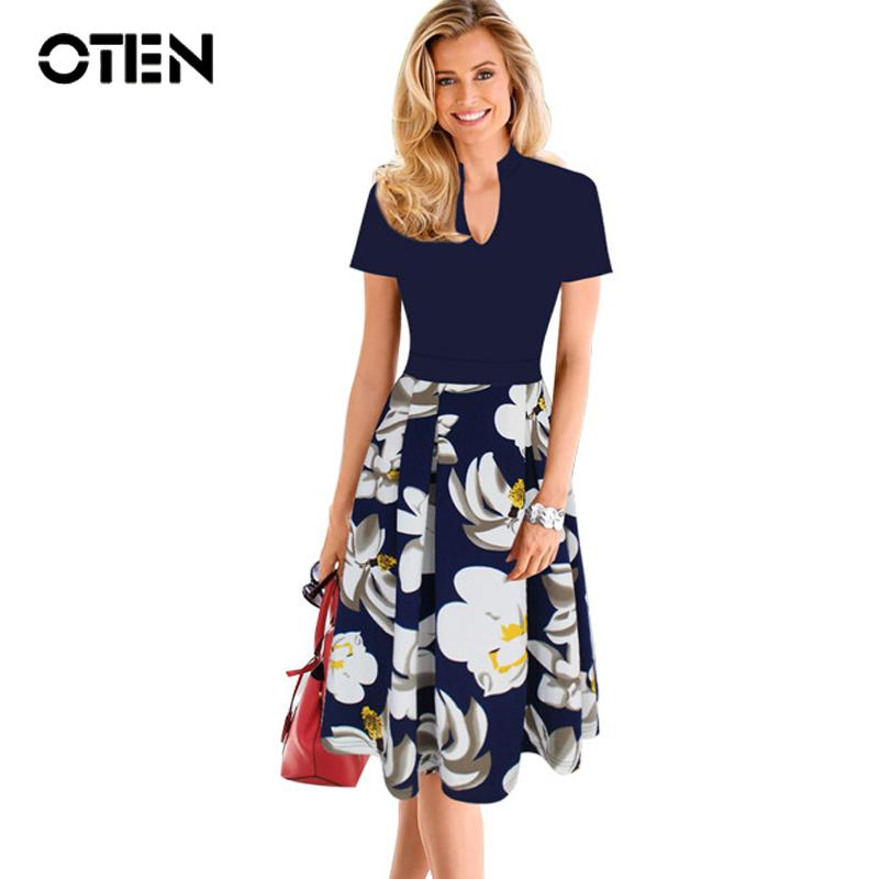 f568d20a773 2019 OTEN European Style Women Clothing Plus Size 4XL Summer Spring V Neck  Flower Print Pocket 2018 New Fashion Ladies Office Dresses From Baxianhua