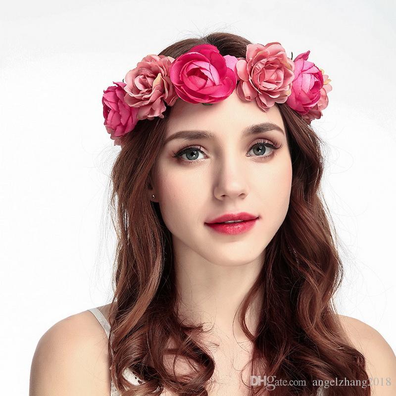 Compre Mais Novo Headband Venda Rose Flower Crown Headband Praia