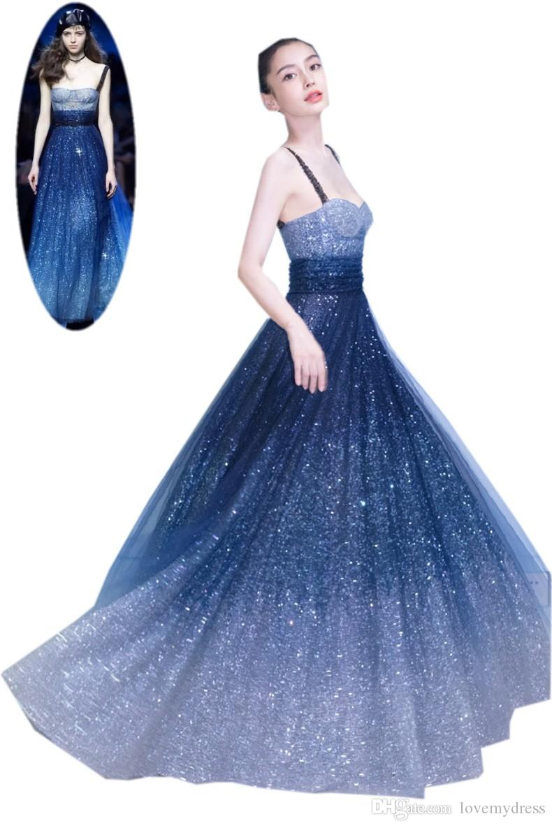 706ee9eed0 Sequined Dresses Navy Gradient Cheap Prom Dress Long With Spaghetti Straps  Beaded Empire Boho Stylish Evening Formal Pageant Dress