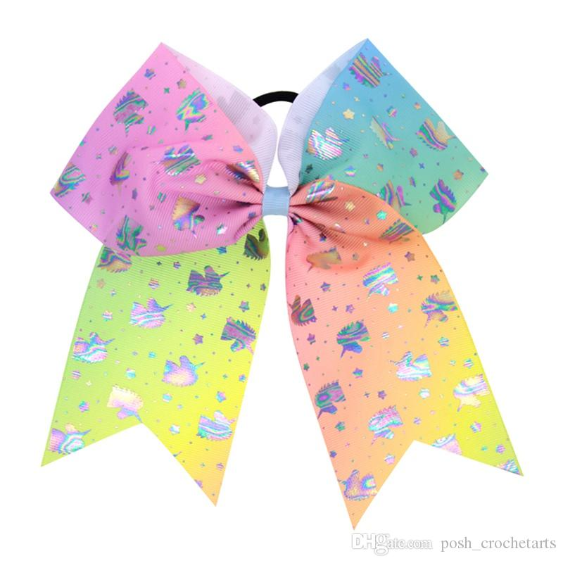 7 pollici Jojo Cheer Hair Bows Unicorn Cheer Bow Jojo Style Paint Drips Stampa Grosgrain Hairbands Holographic Mermaid Pastel Unicorn Hairbows