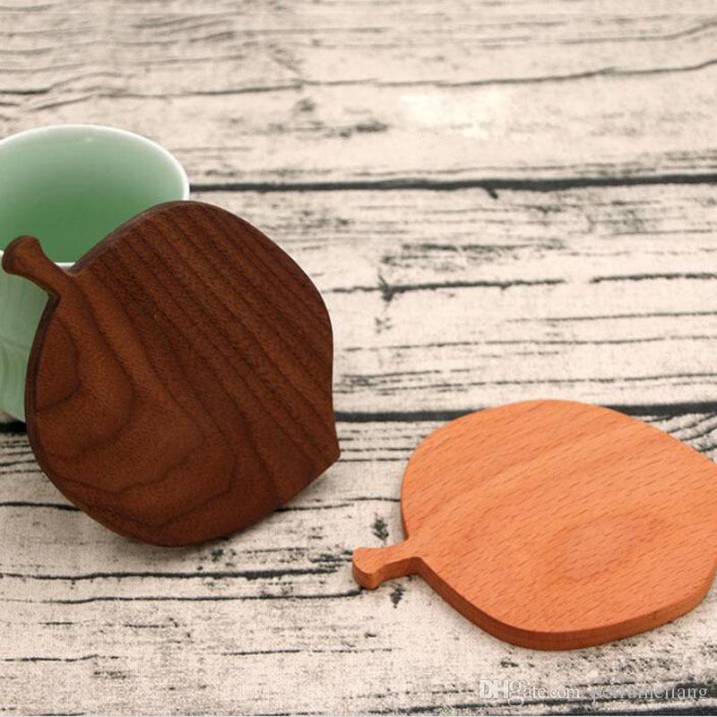 Dessous de verre bois de noyer noir créatif feuille forme pad tapis café tasse à thé tapis théière boisson caboteur ZA6639