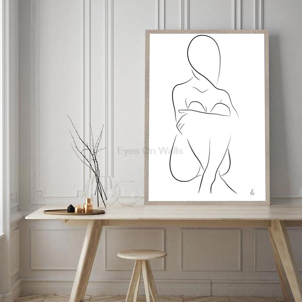 2018 Sitting One Line Drawing Silhouette Minimalist Art Canvas Poster  Painting Black White Abstract Picture Print Modern Home Decor From Sheiler,  ...