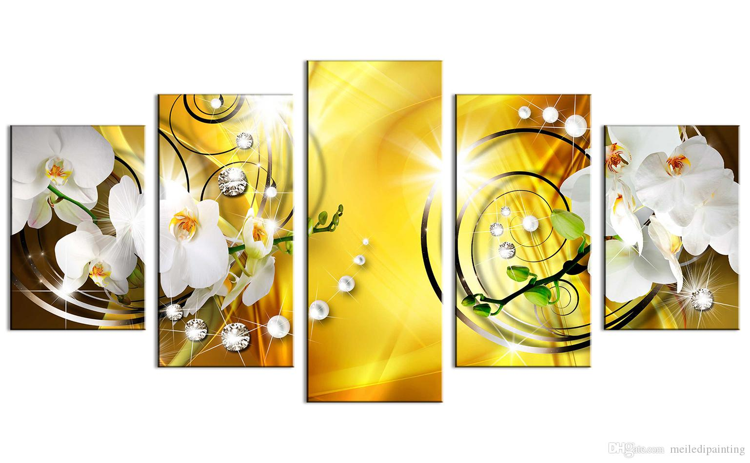 2018 Canvas Painting White Orchid Flowers Wall Art Painting Yellow ...