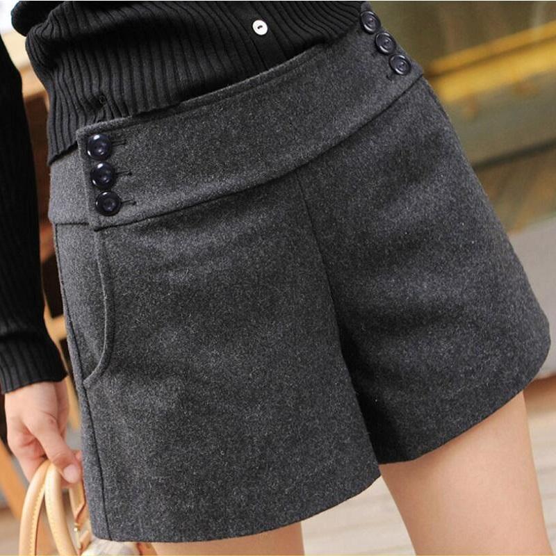 1b380dc537 Acheter Mode 2018 Femmes Plus La Taille Short En Laine Automne Hiver Taille  Haute Large Jambe Courte Casual Boot Cut Jeans Femmes De $34.4 Du  Insideseam ...