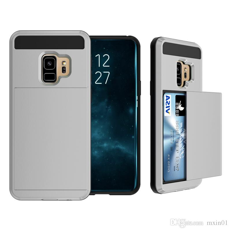 Hybrid Armor TPU PC Wallet Slide Card Case For iPhone 12 11 Pro Max XR XS X 8 SE 2020 Samsung S6 S7 S8 S9 S10 S20 Plus Note 9 10 20 Ultra