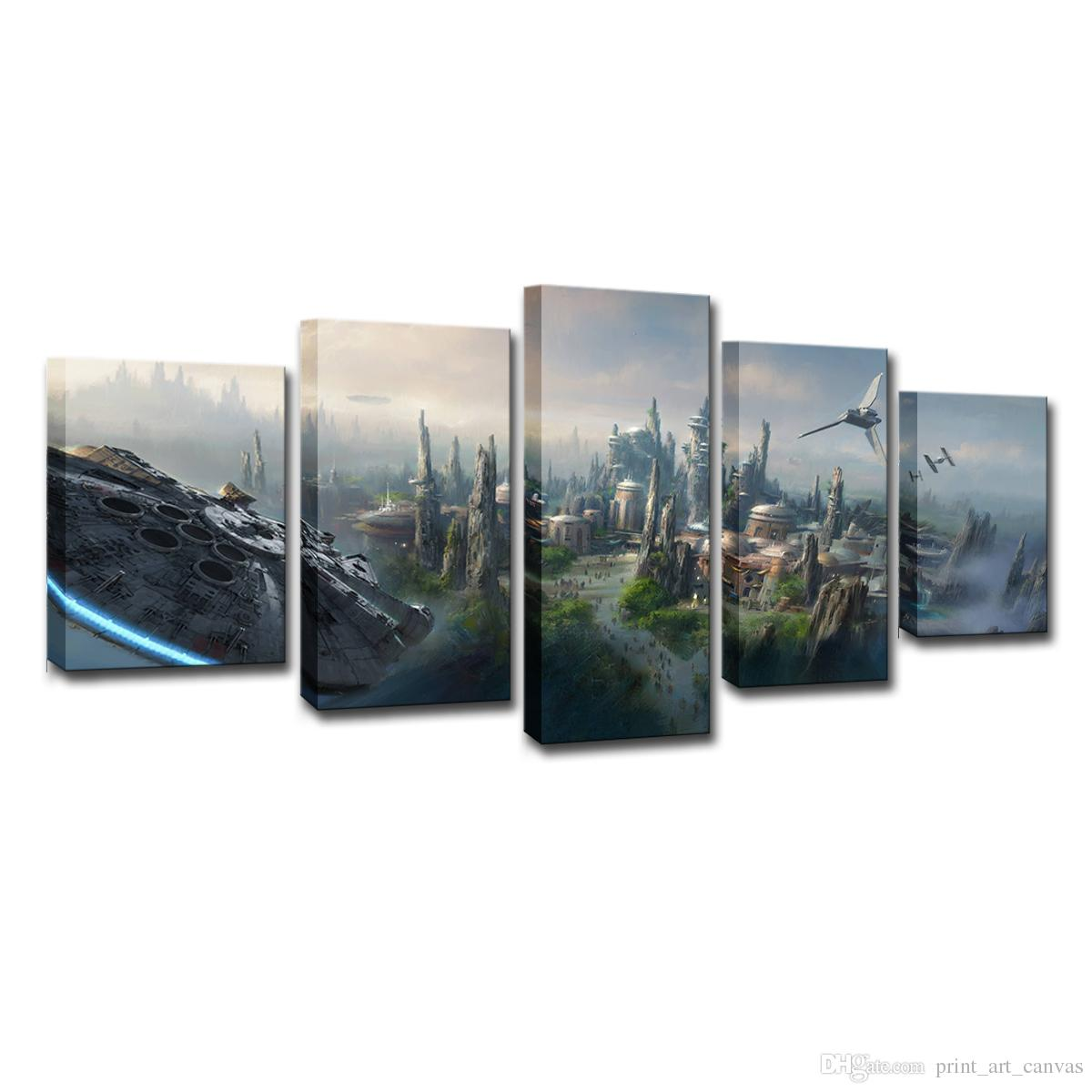 a0f6b08052a 2019 Canvas Painting Wall Art HD Prints Pictures Wars Scenery Millennium Falcon  Poster Home Decor Living Room From Print art canvas