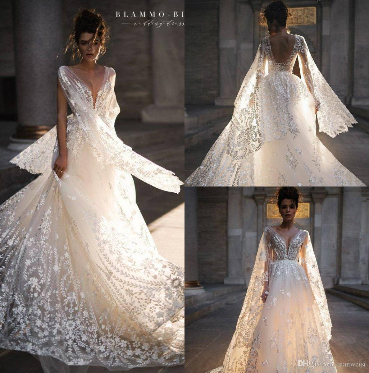 Discount 2019 Latest Beach Wedding Dresses Lace Embroidery V