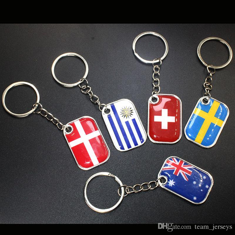 Russia 2018 World Cup Football Key Chain Ring Souvenir Pendant Keychain Gifts National Team Flag Top 32 Countries AU UK England Spain Mexico