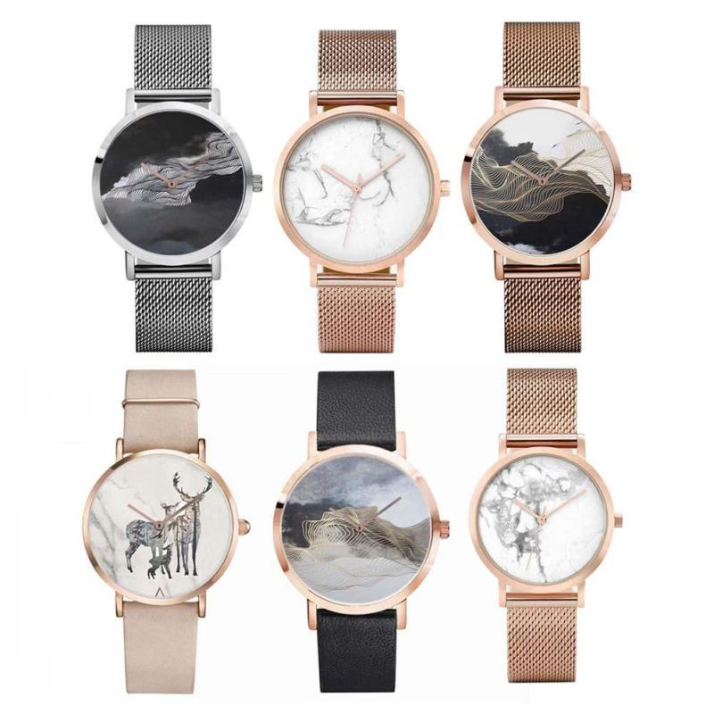 Quartz Watch Men Women Watches Marble Pattern Printing Dial Silver Black Rose Gold Mesh Watchband Montre S5-