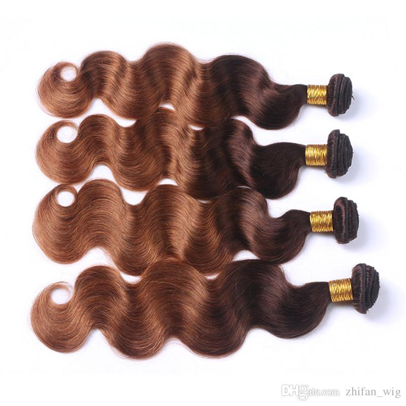 ZhiFan extensions de cheveux véritables blond foncé ombre cheveux humains pour tresser des vagues du corps pour les cheveux de longueur moyenne