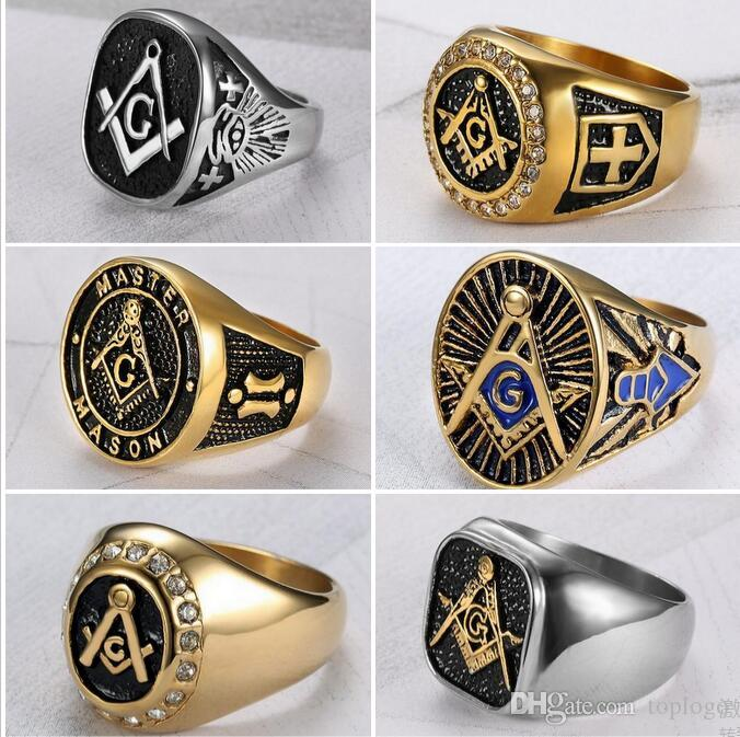 Wholesale Men Ring Cool Freemason Mens Boys Gold Silver 316l
