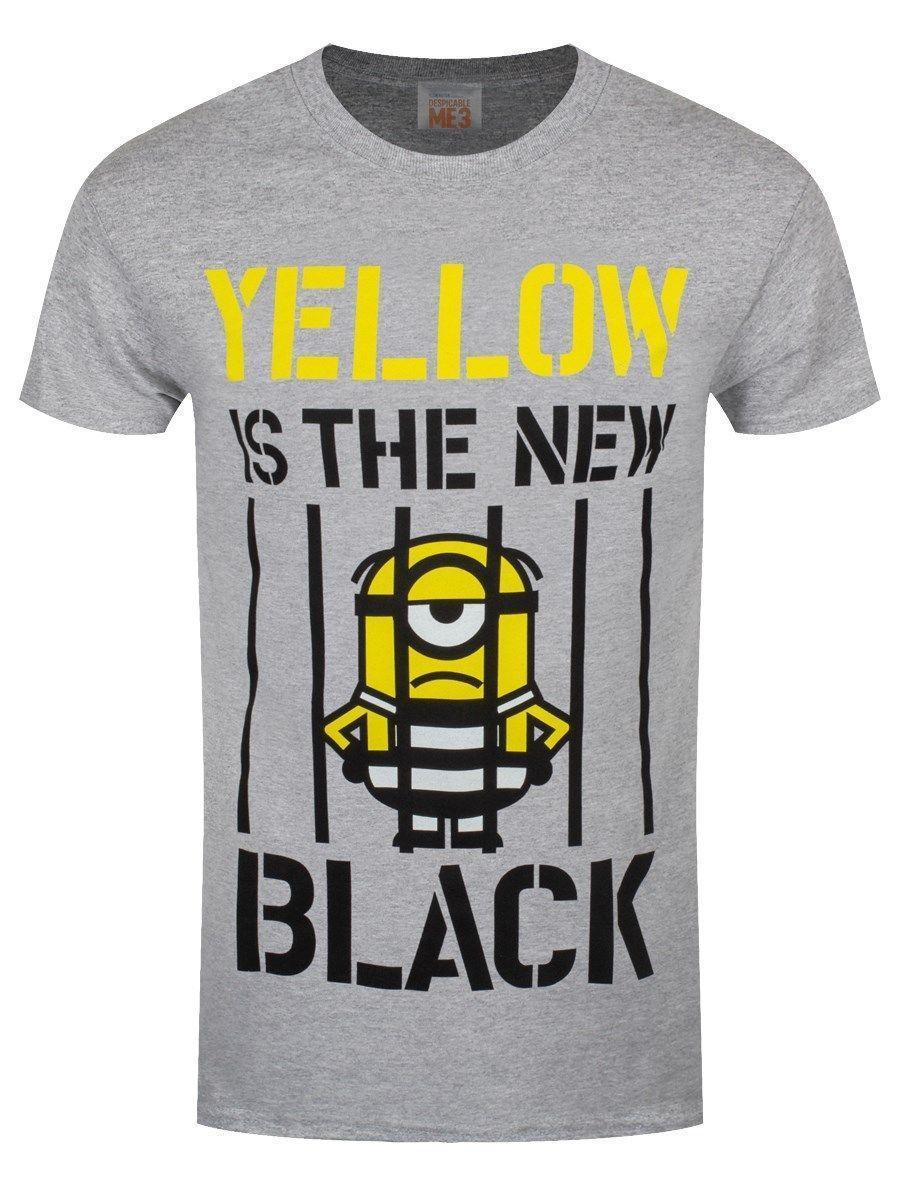 992f2b48e Despicable Me 3 Yellow Is The New Black Men'S Grey T Shirt Printing ...