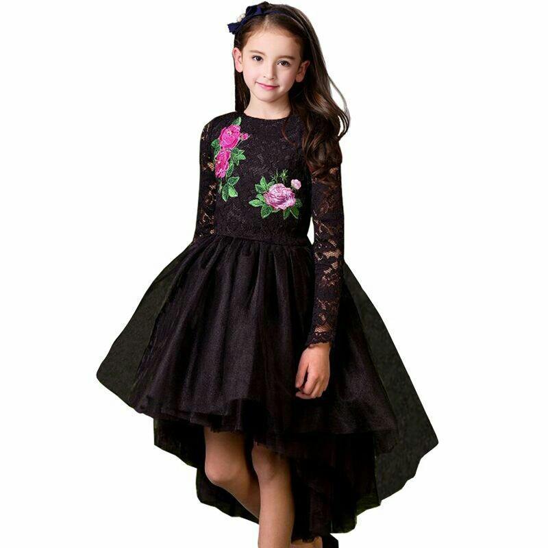 Großhandel Mädchen Party Kleid Prinzessin Kostüm 2017 Marke Kinder Kleider  Für Mädchen Kleidung Blume Stickerei Kinder Schwarz Spitzenkleid Vestido  Y1892113 ... 6fd0df6f7e