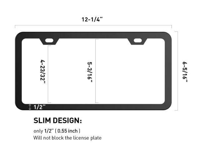 Black License Plate Frames, Karoad Stainless Steel Car Licence Plate Covers Slim Design for US Standard ATP036