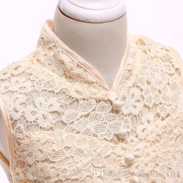 Cheongsam chinois debout robe de tulle de collier pour bébés filles sans manches évider dentelle partie robes