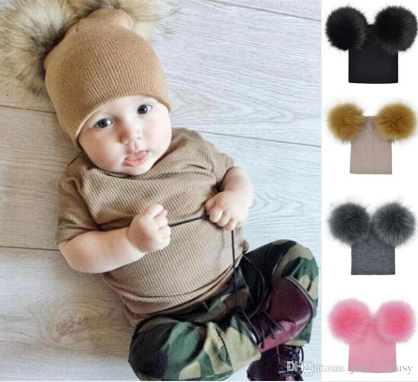 2019 INS Baby Pompom Hats Baby Winter Knit Hat Kids Warm Crochet Hat Infant  Pompom Beanie Infant Toddler Pom Pom Beanie Xmas Gift Z69 0 From  Jade fantasy dc2ba7cf657