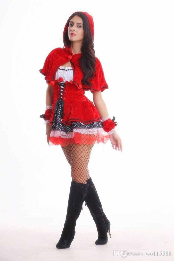 Free Shipping New sexy lingerie cosplay Sexy Little Red Riding Hood Queen Costume Cosplay Uniform Cosplay Halloween Party Performance Costum