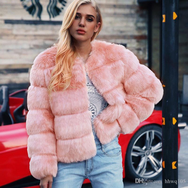 de7616dd7b23 2019 New Fox Fur Jacket Coat For Women Long Sleeve Crew Neck Faux ...