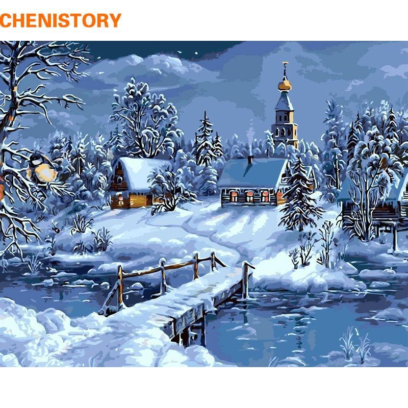 Großhandel CHENISTORY Weihnachten Schnee Landschaft DIY Malen Nach ...