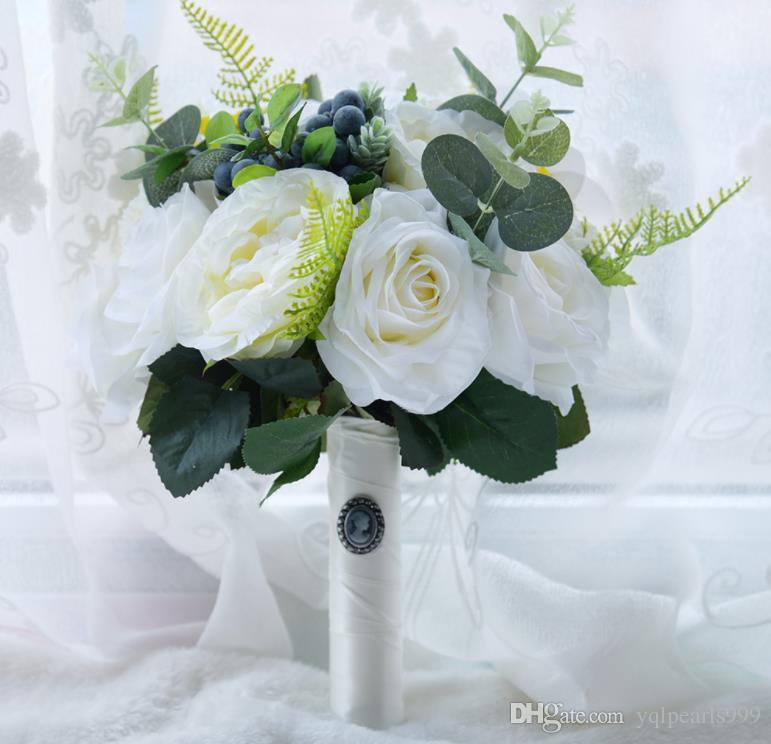 Eternal Angel Wedding Gift Forest Style White Rose Bride Bouquet