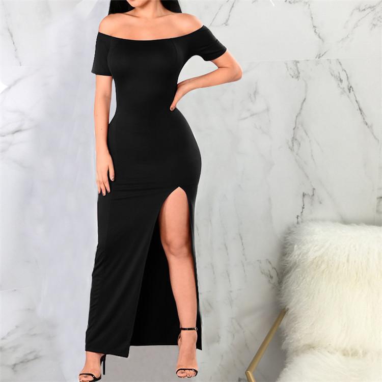 ae711efd572a Acquista L 4XL Taglie Forti Abito Da Donna Sexy Nero Elasticizzato Side  Split Maxi Dress Off Spalla Manica Corta Da Caviglia Party Party Dress  Ragazze ...