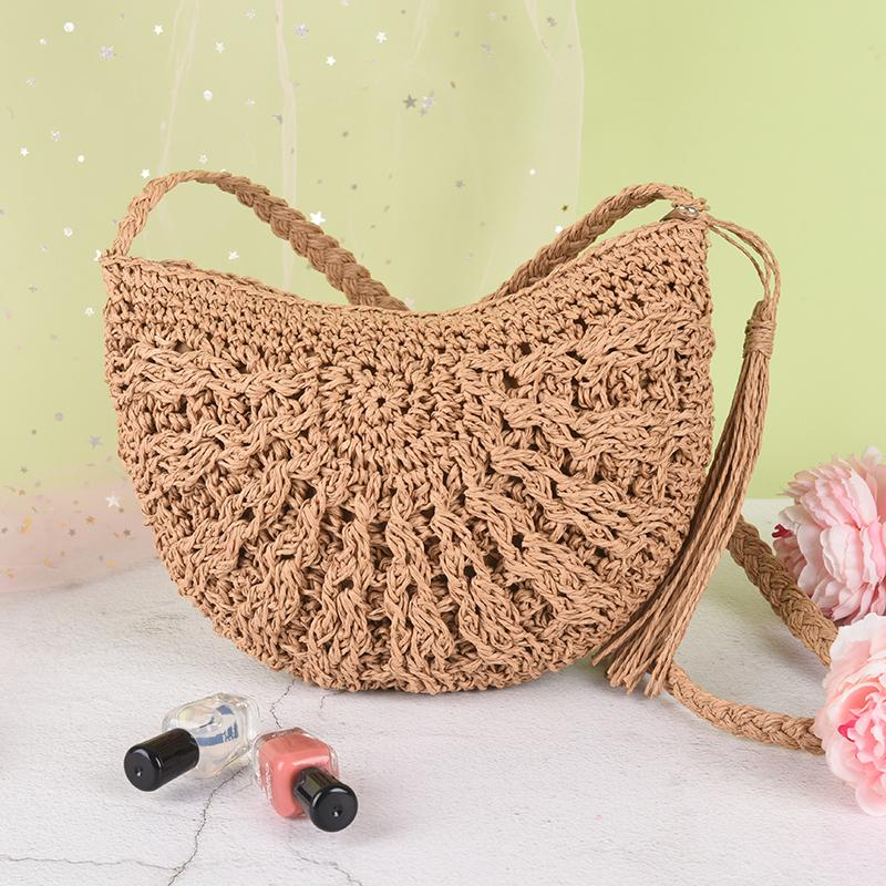 61639bf97155 Round Summer Beach Purse And Handbags Straw Crossbody Bag Women Weave  Shoulder Bag White Handbags Wholesale Bags From Mingshoe001